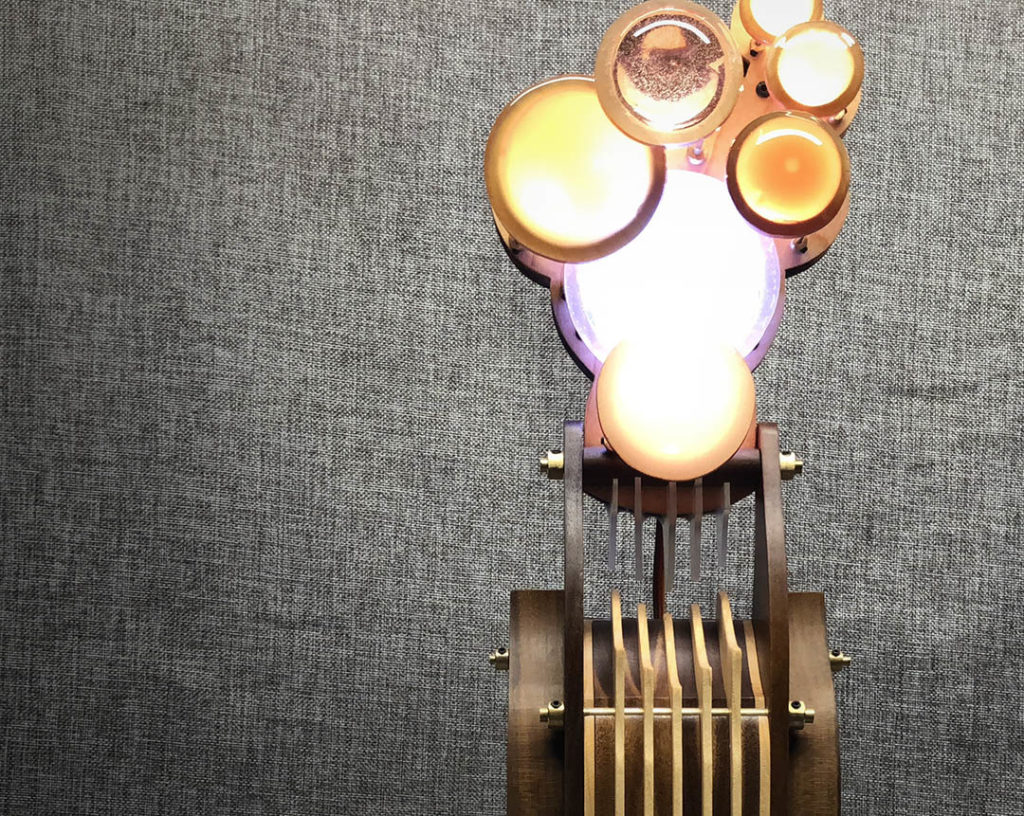 interactive kinetic sculpture lamp by lex talkington