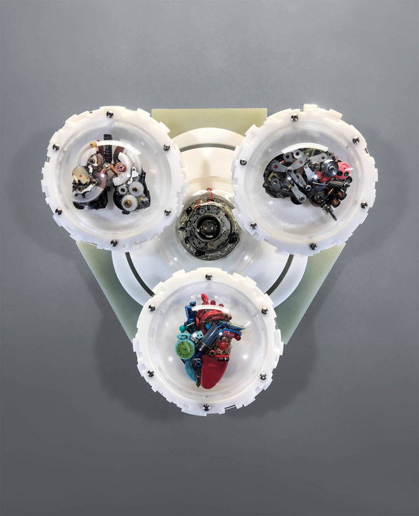 static assemblage heart brain and lung sculpture by lextalking